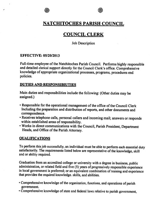 Parish Council Clerk  FullTime Or PartTime  Natchitoches